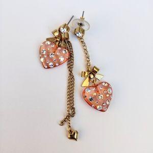 Betsey Johnson Asymmetric Heart Stud Earrings